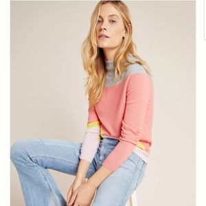 ANTHROPOLOGIE Emilie Colorblocked Cashmere Sweater
